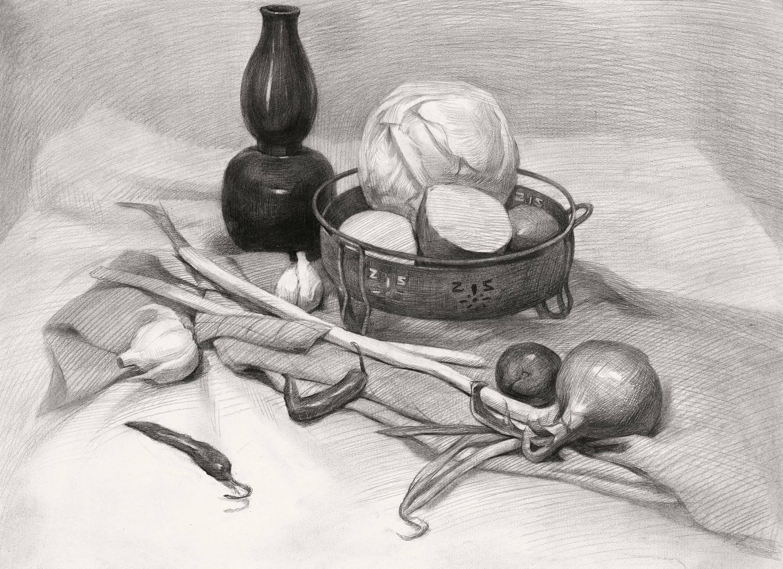 蔬菜水果类素描静物组合