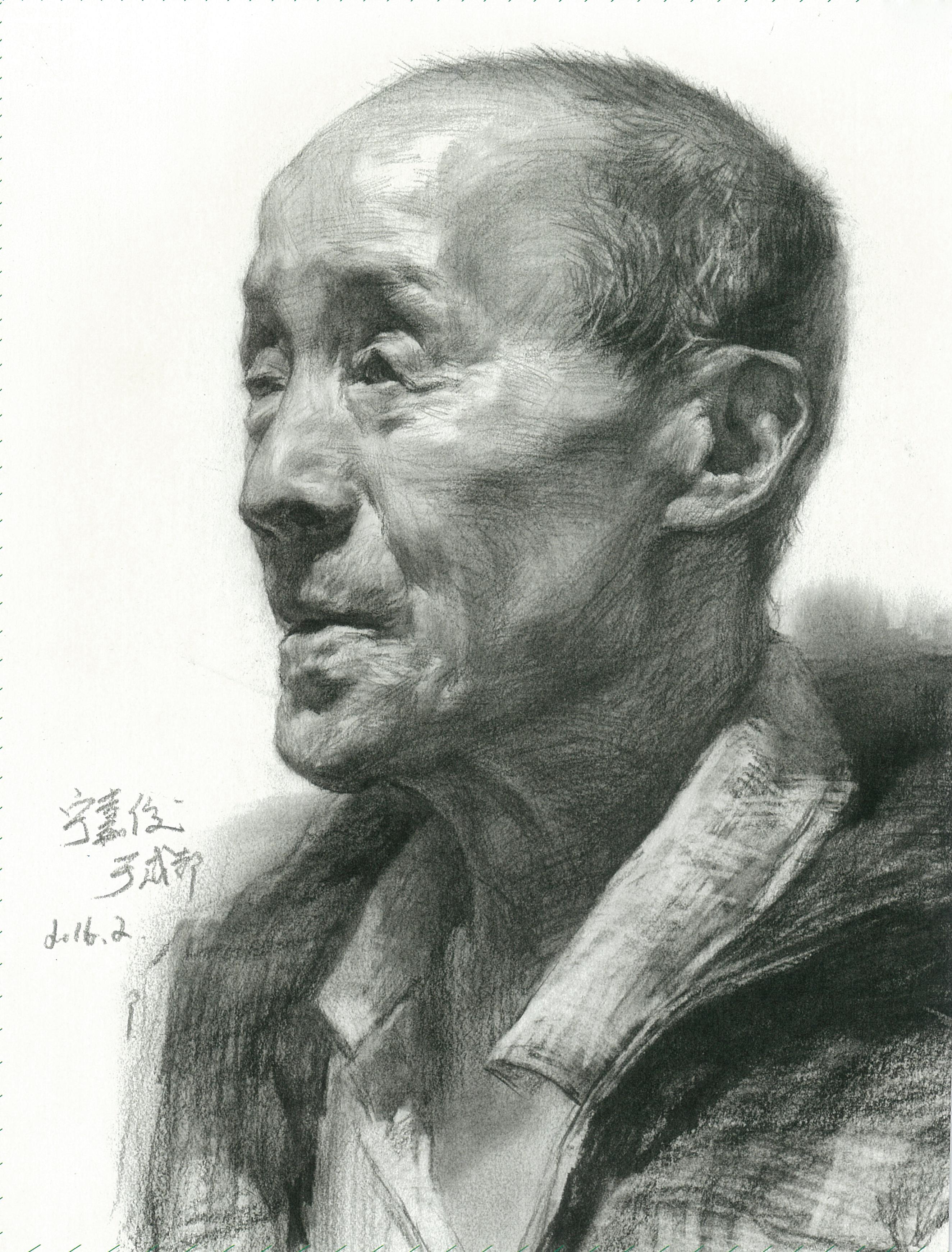 北京素描大咖宁嘉俊——男老年四分之三素描头像
