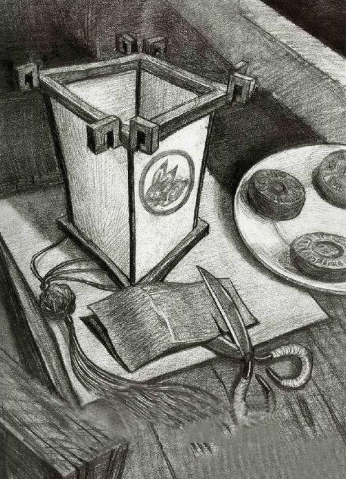 清华大学美术学院设计素描 设计素描高分试卷 月饼 灯笼