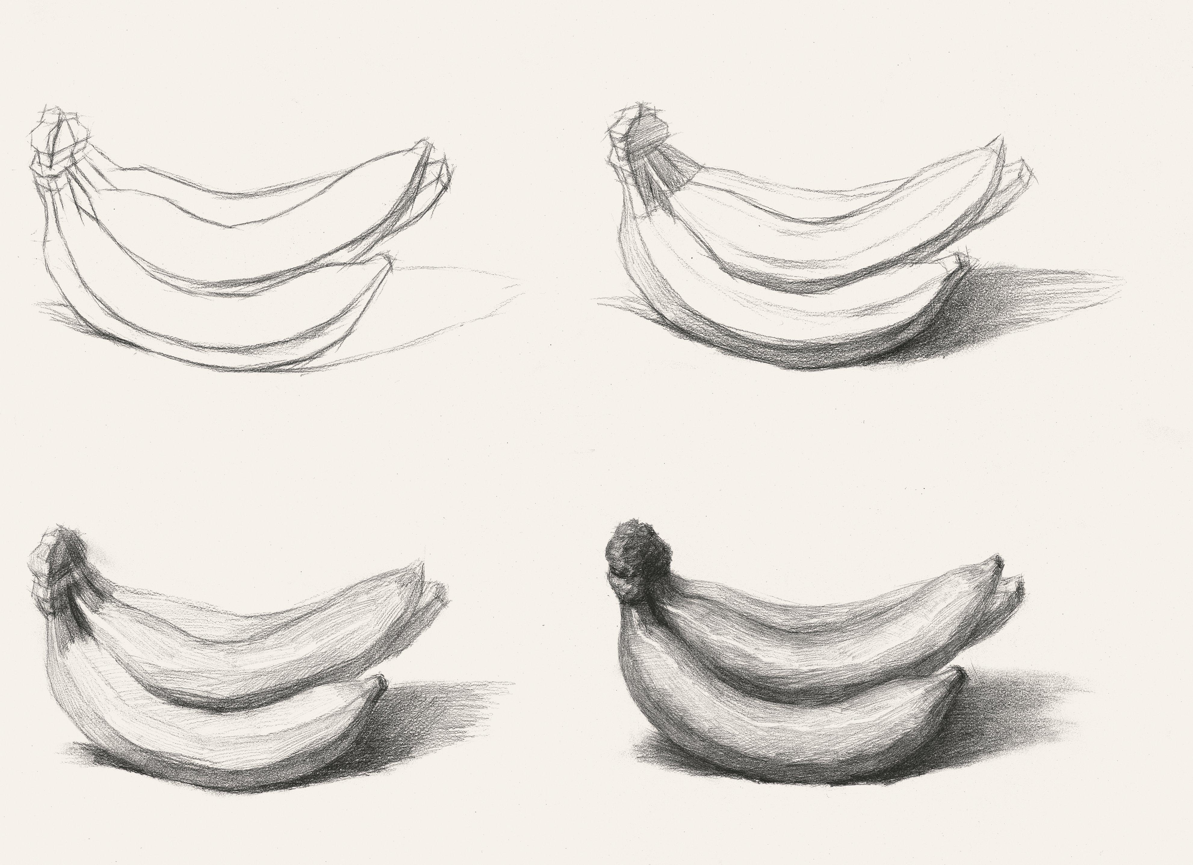 素描静物步骤图 素描香蕉 香蕉