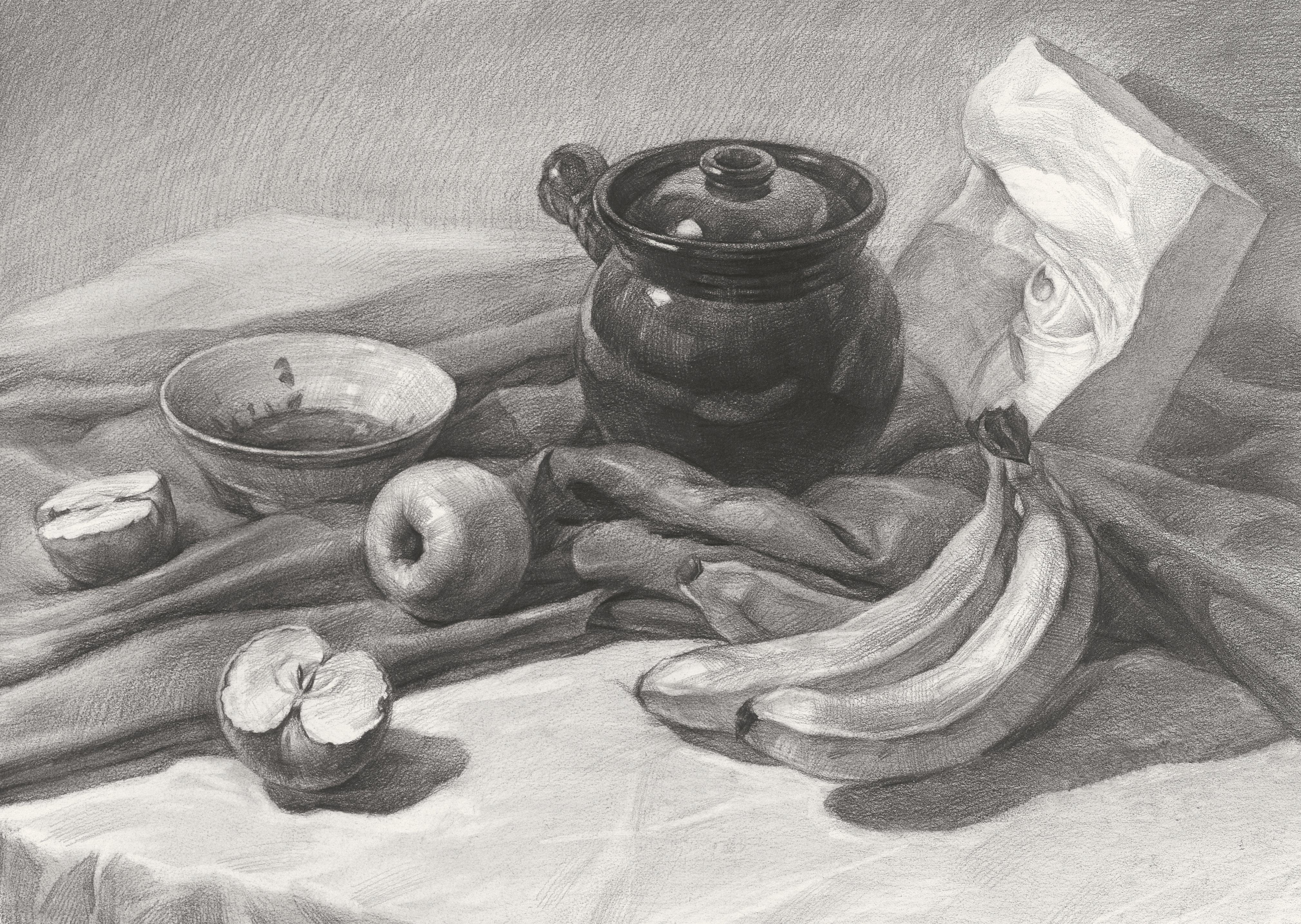静物素描罐子_陶瓷类素描静物组合 罐子 水果 香蕉 盘子,美术作品图库-美术宝图库