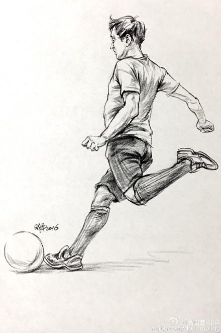 素描色彩速写_速写 单人速写 踢足球 男青年,美术作品图库-美术宝图库
