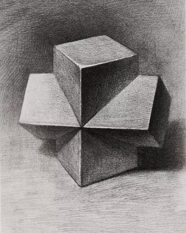 几何体明暗素描十字贯穿体画法