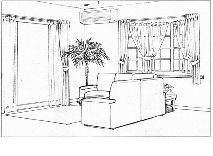 两点透视:绘制室内(没有人物的房间)
